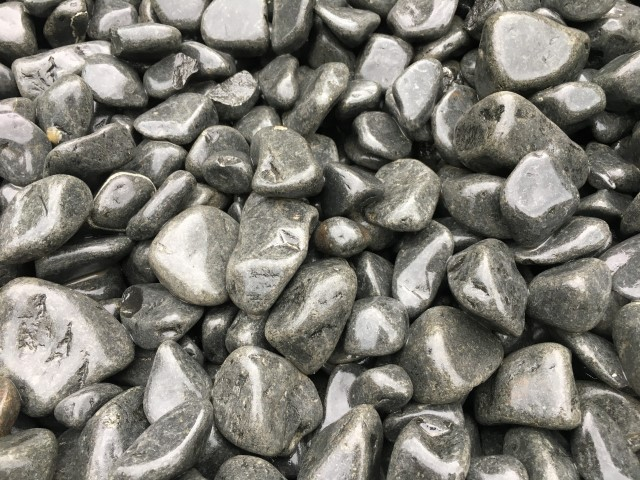 20-40mm Charcoal Black decorative pebble available at The Yard Landscape and Garden Centre, Doonan
