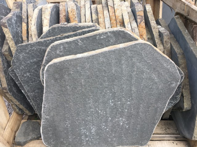 Flamed Basalt Steppers available at The Yard Landscape and garden Centre, Doonan