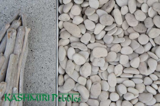 Kashmiri Ivory Pebbles available from The Yard Landscape Centre in Doonan