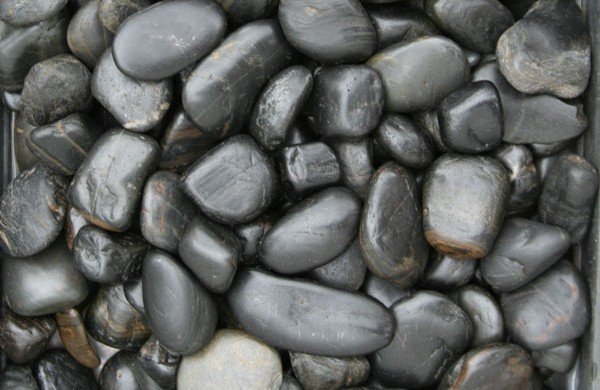 Kashmiri - Polished Black Pebbles available from The Yard Landscape Centre in Doonan