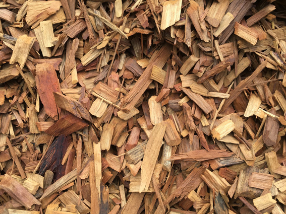 Hardwood chip mulch available at The Yard Landscape and Garden Centre, Doonan