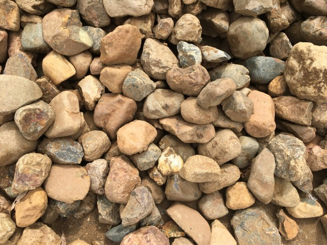 50-150mm River Rock available from The Yard Landscape Centre in Doonan