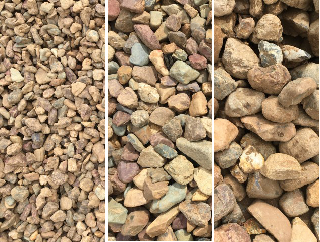 20mm, 40mm and 50-150mm River Gravel and Rock available at The Yard Landscape and Garden Centre, Doonan