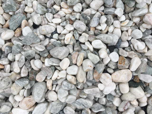 20-40mm White Ash decorative pebble available at The Yard Landscape and Garden Centre, Doonan